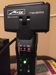 Back of Metz CT-60 flash and settings
